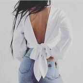 blouse,shanghai trends,aw17,white blouse,top,white top,bow,bow top