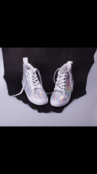 shoes sneakers high top sneakers hologram sneakers miley cyrus rihanna style