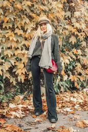 sweater,hat,tumblr,knit,knitwear,knitted sweater,grey sweater,scarf,fisherman cap,pants,flare pants,grey pants,bag,red bag,crossbody bag