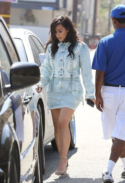Jacket: skirt, kim kardashian, kardashians, denim jacket, denim ...