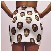 skirt,kanye west,white,girl,rapper,heads,pencil skirt,shorts