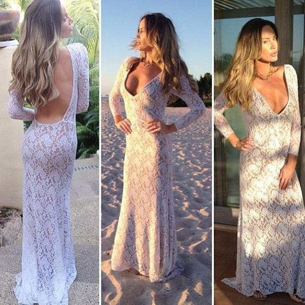 Cheap Mermaid Prom Dress - Discount Elegant Lace Sheath Evening Dresses Long Sleeve V Online with $149.74/Piece | DHgate