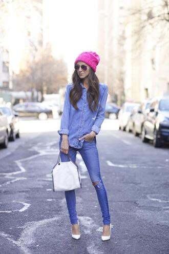 something navy blogger jeans shirt shoes bag sunglasses jacket hat