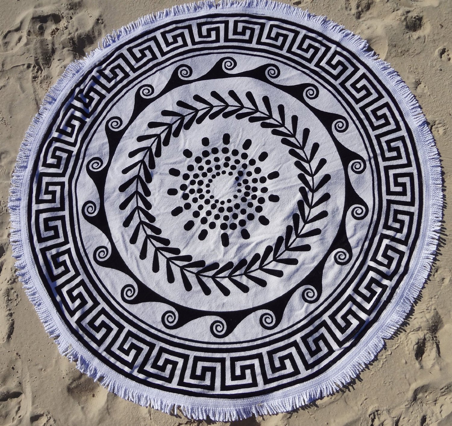 Amazon.com - Round Beach Towel with Tassels Over-sized Circle Turkish Cotton -