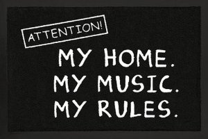 Amazon.com : Attention: My Home. My Music. My Rules. - Door / Floor Mat (Size: 24