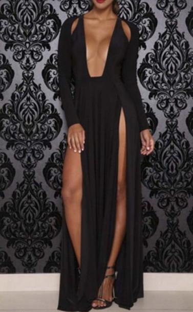 dress black dress party dress maxi dress cleavage fashion high low dress beautifulhalo
