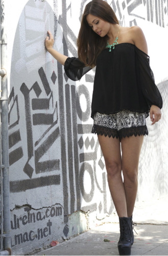 girl lace shorts girly boho hipster parsley black lace bottoms bottom laceup lace up boots high heels off the shoulder off shoulder top chiffon top boho chic
