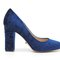 4 inch heels - blue velvet classic block heels