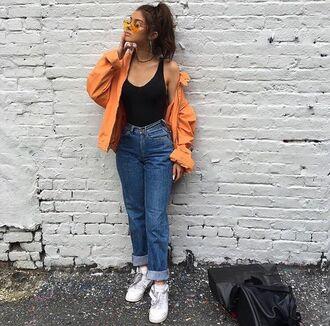 jacket orange windbreaker mom jeans jeans blue blue jeans