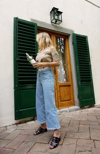 top nude top black shoes shoes tumblr crop tops crop denim jeans cropped jeans denim culottes mules