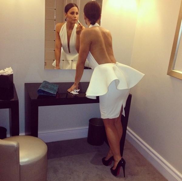 In stock cheap luxury sexy halter ruffles peplum backless white bandage dress evening dress