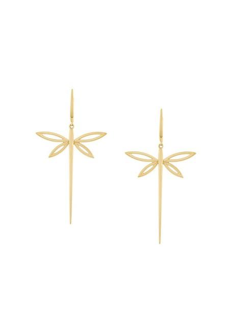 Anapsara women dragonfly earrings gold yellow grey metallic jewels