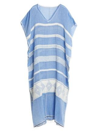maxi cotton white blue top