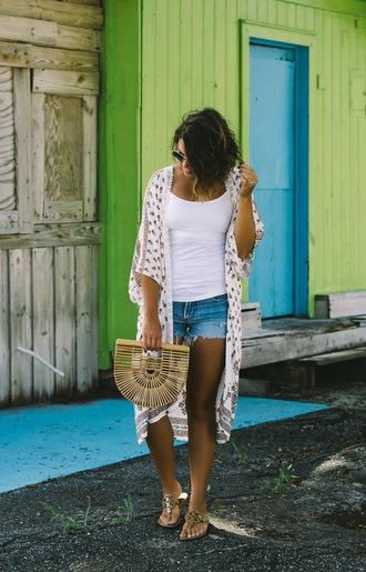 life & messy hair blogger shorts shoes bag sunglasses cult gaia bag sandals denim shorts cardigan kimono summer outfits
