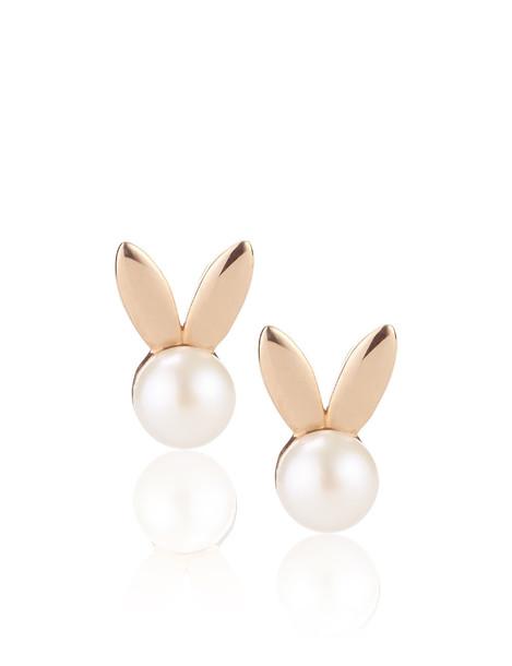 Rose Gold Pearl Bunny Earrings