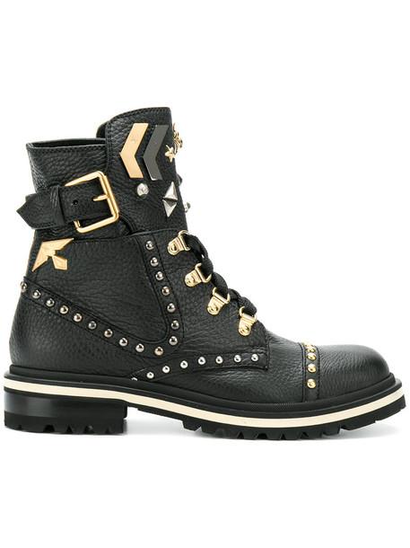 Fabi women embellished leather black shoes