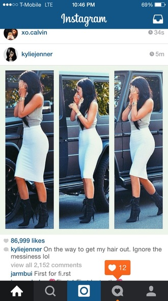 kylie jenner white skirt crop tops crop midi skirt boots pencil skirt