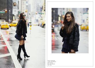 ilirida krasniqi blogger jewels mini skirt knee high boots suede boots shoulder bag fur coat sunglasses winter outfits