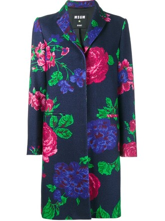 coat women floral blue wool