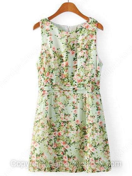 Green Round Neck Sleeveless Floral Print Dress - HandpickLook.com