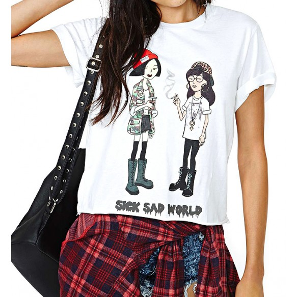 Cartoon Print Boxy T-shirt at Style Moi