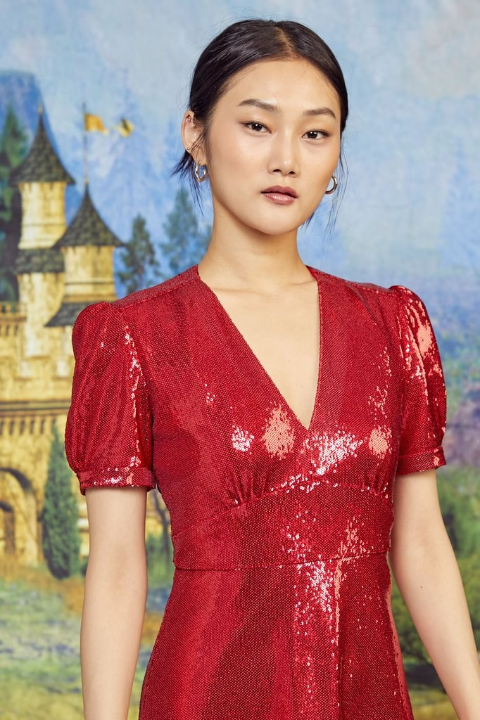 Red Sequin Paula Deep V Neck Dress