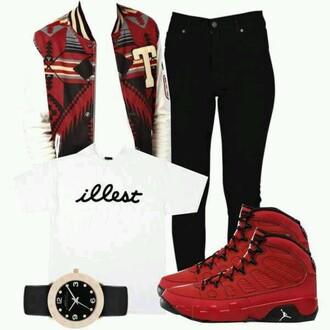 coat red coat illest ] black jeans red jordans