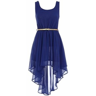 dress cobalt high-low dresses gold belt blue prom dress