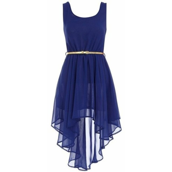 cobalt dress gold high-low dresses belt