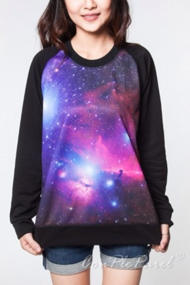 cosmic galaxy print space stars purple sweater black
