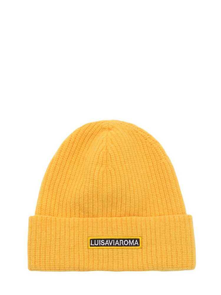 LUISA VIA ROMA Lvr Logo Wool Beanie in yellow