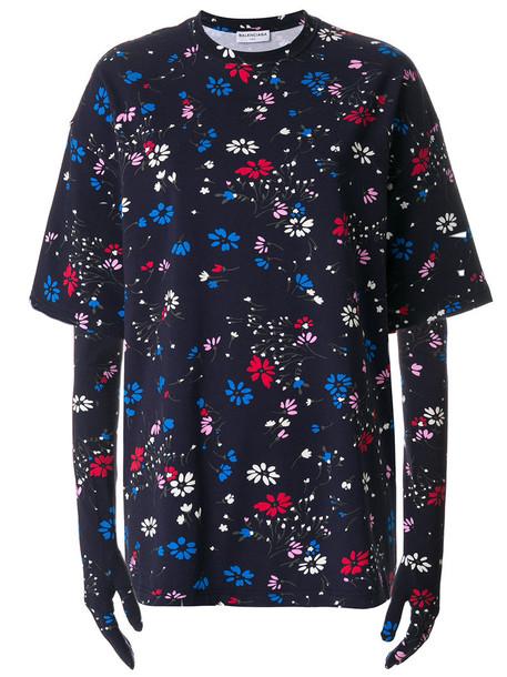 Balenciaga t-shirt shirt t-shirt women spandex floral cotton blue top