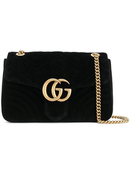 gucci women bag shoulder bag leather suede black velvet