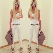 pants,jeans,white top,white skinny jeans,shoes,bag,belt,ннн,tank top,dress,baby blue dress,nathalie paris,flattering fit