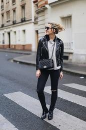 caroline louis,pardonmyobsession,blogger,jacket,jeans,sweater,bag,shoes,make-up,black leather jacket,chanel bag,chanel,grey sweater,black jeans