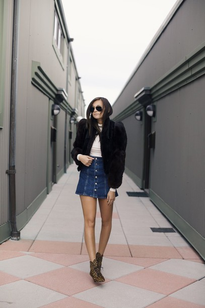 we wore what blogger denim skirt lace-up shoes black jacket mini skirt