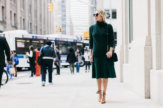 damsel in dior blogger sweater skirt shoes bag green skirt midi skirt green sweater shoulder bag