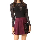 blouse,bodysuit,daisy,one piece,for love and lemons,skivvies,lingerie,monokini,taylor ashley,lace,lace top,skirt,fall outfits,burgundy,fall skirt,fall top,bodysuit outfit,lace bodysuit,black bodysuit,boho chic,boho,boho fall