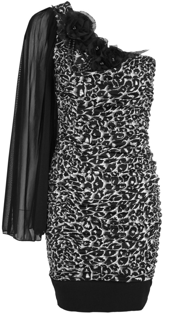 dress one shoulder leopard print lace flowers ruched bodycon shoulder side sexy evening dress prom dress party cocktail draped dress