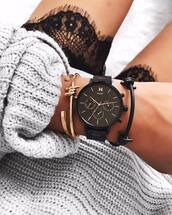 jewels,mvmt watches,watch,black watch,accessories,Accessory,bracelets,gold bracelet