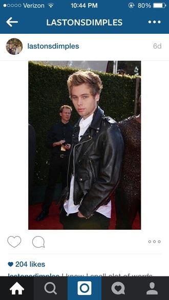 jacket luke hemmings leather jacket black jacket