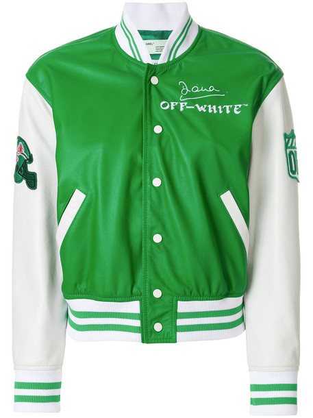 Off-White jacket bomber jacket women varsity leather cotton green