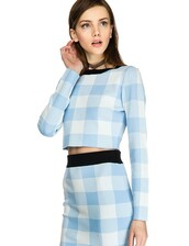 top,pixie market,pixie market girl,power blue top,knitted top,gingham top,blue top,matching separates