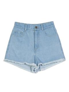 Light blue trim fringe denim shorts
