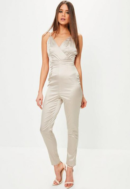 Missguided Tall Grey Satin Wrap Cami Romper