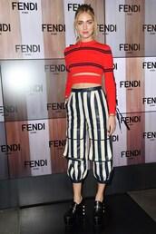 pants,top,fendi,chiara ferragni,the blonde salad,blogger,milan fashion week 2017,fashion week 2017,crop tops,stripes,striped pants