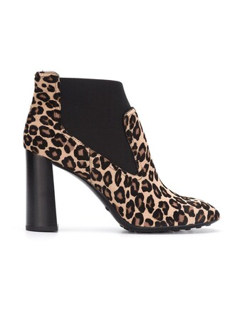 women boots ankle boots leather white print leopard print shoes