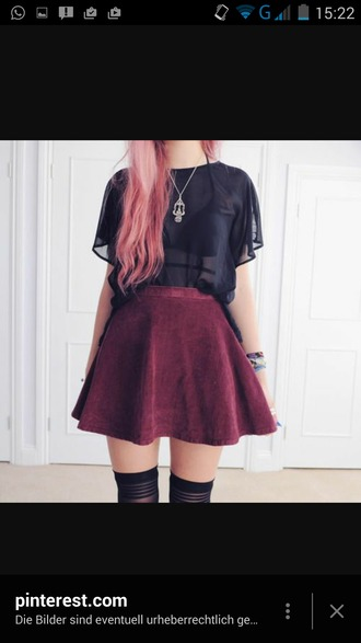 blouse red soft grunge tumblr black colored hair cute red skirt
