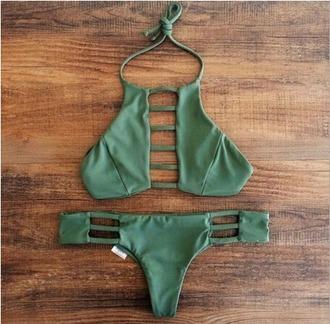 swimwear bikini army green sexy bikini brazilian bikini bikini top bikini bottoms low waisted low waisted bikini