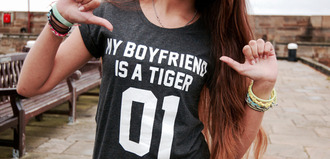 t-shirt amazing boyfriend couple girl hair kiss ombre style tiger numberone quote on it black hipster casual black t-shirt